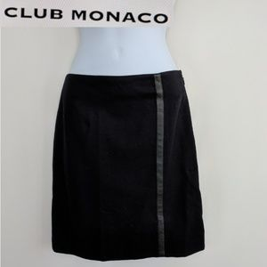 Club Monaco black wool & leather stripe skirt XS
